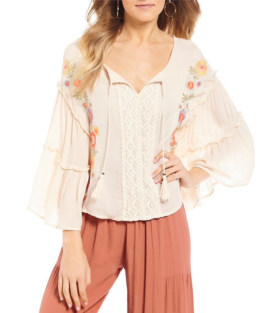 Coco + Jaimeson Tiered Sleeve Embroidered Top
