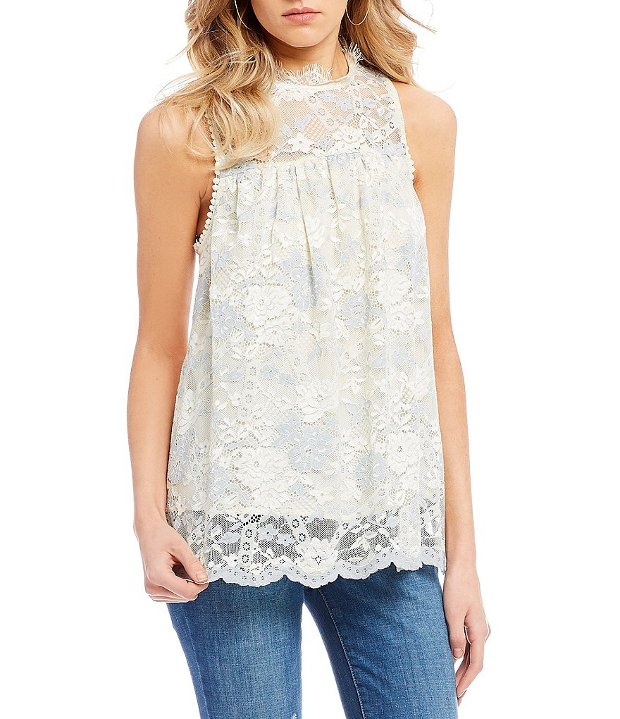 Coco + Jaimeson Two-Tone Lace Top