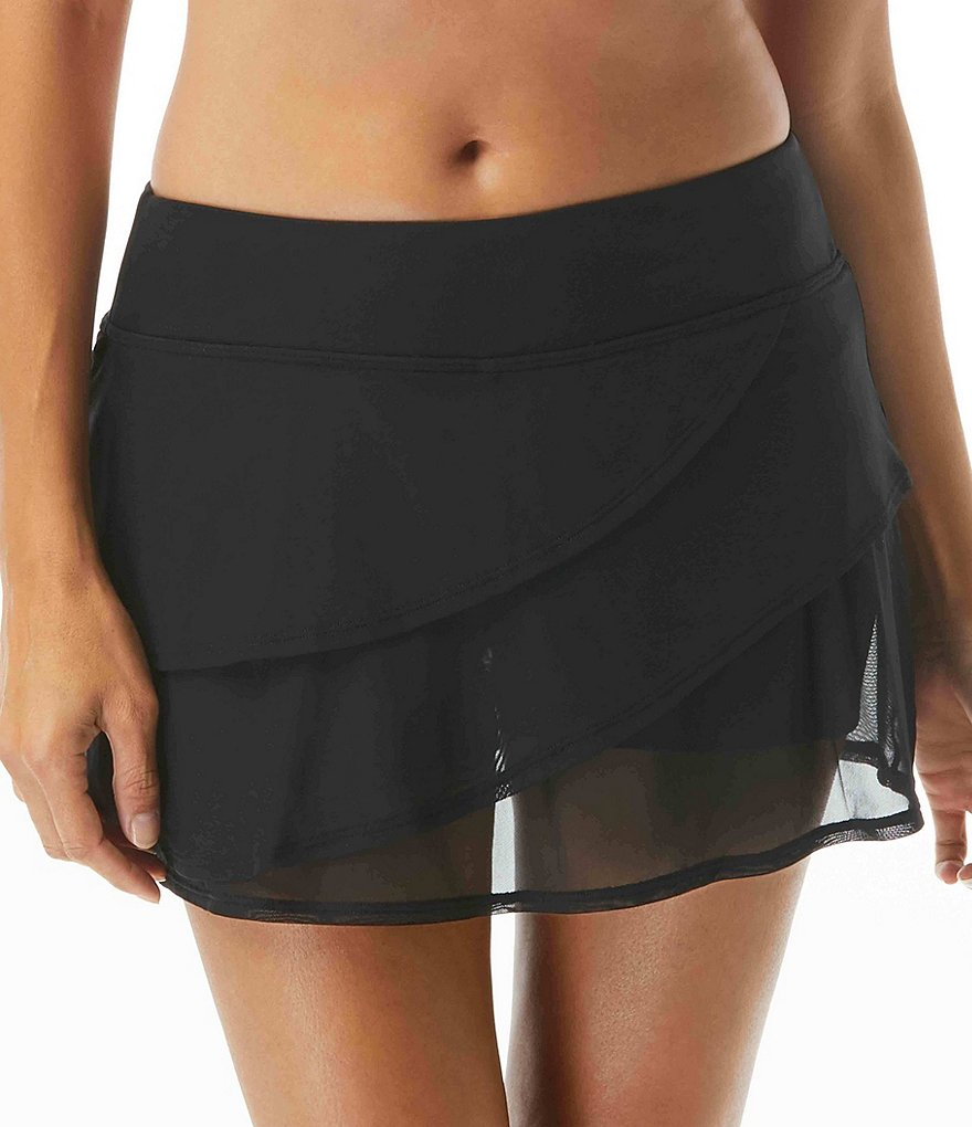 Coco Reef Classic Solids Mesh Layer Skort Swimsuit Bottom