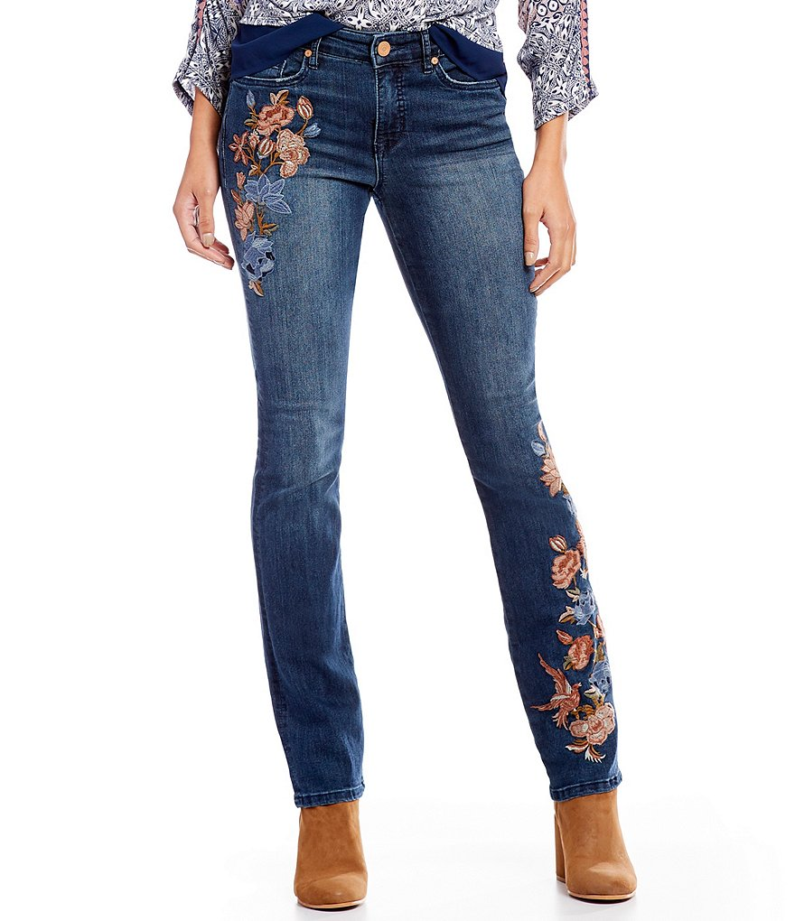 Code bleu chelsea straight leg floral embroidered jeans