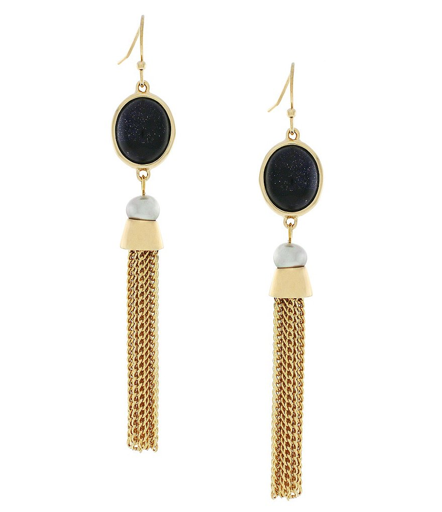 Cole Haan Adair Chain-Tasseled Stone Drop Earrings