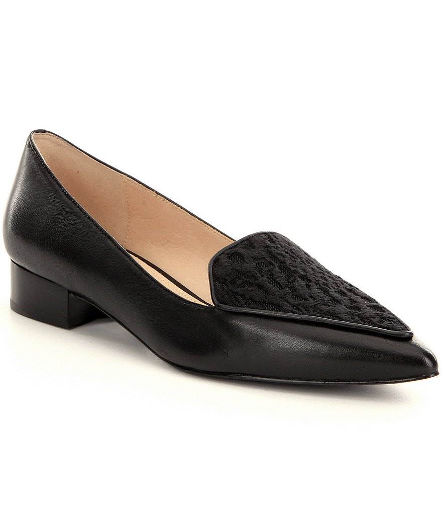 Cole Haan Dellora Leather Pointed Toe Slip-On Lace Detail Skimmers