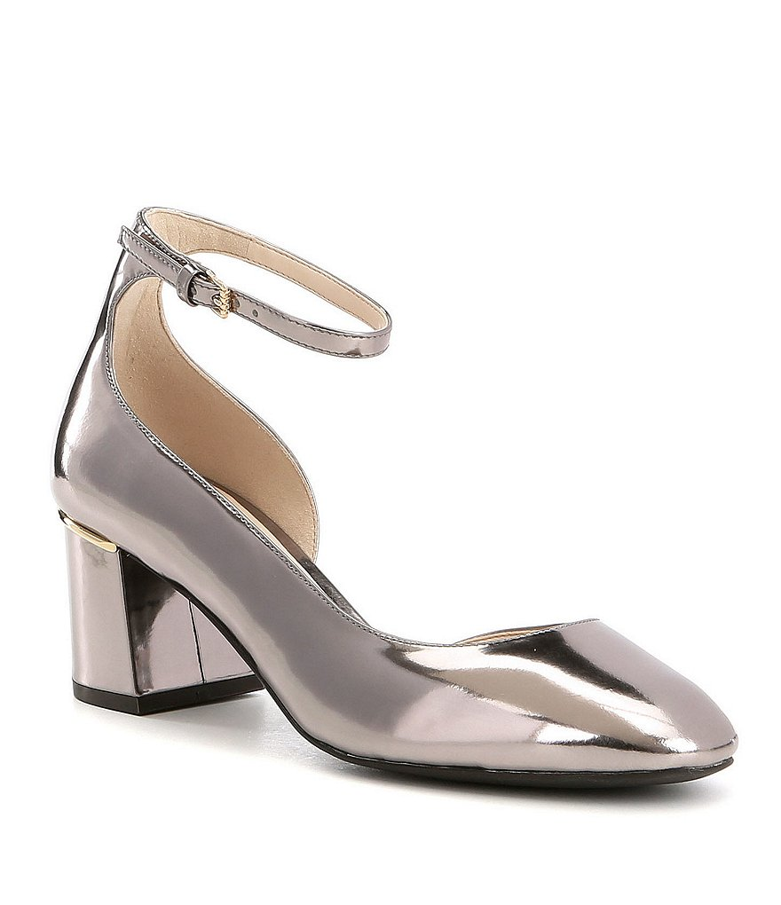 Cole Haan Warner Metallic Leather Ankle Strap Grand Block Heel Pumps