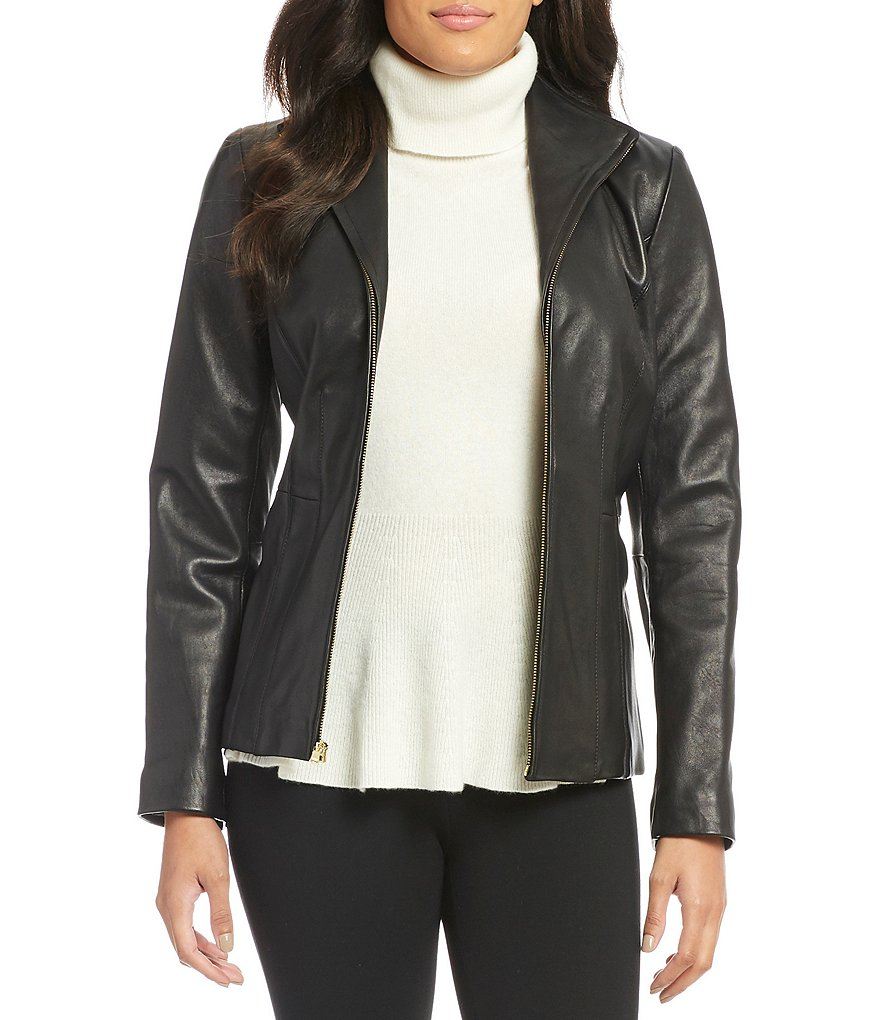 Cole Haan Wing-Collar Zip-Front Genuine Leather Jacket