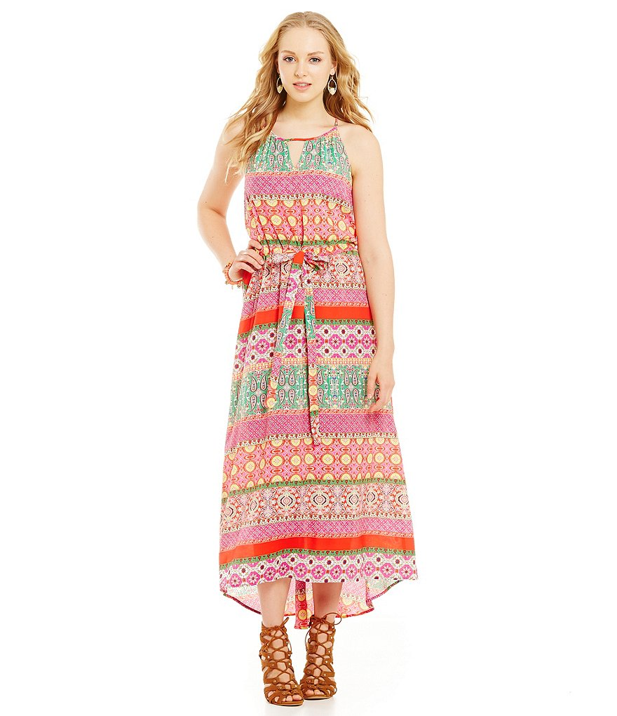 Collective Concepts Bar-Neck Keyhole Maxi Dress