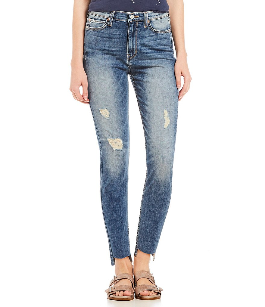 Comune Salem Skyrise Ultra High Rise Frayed Hem Skinny Denim Jeans