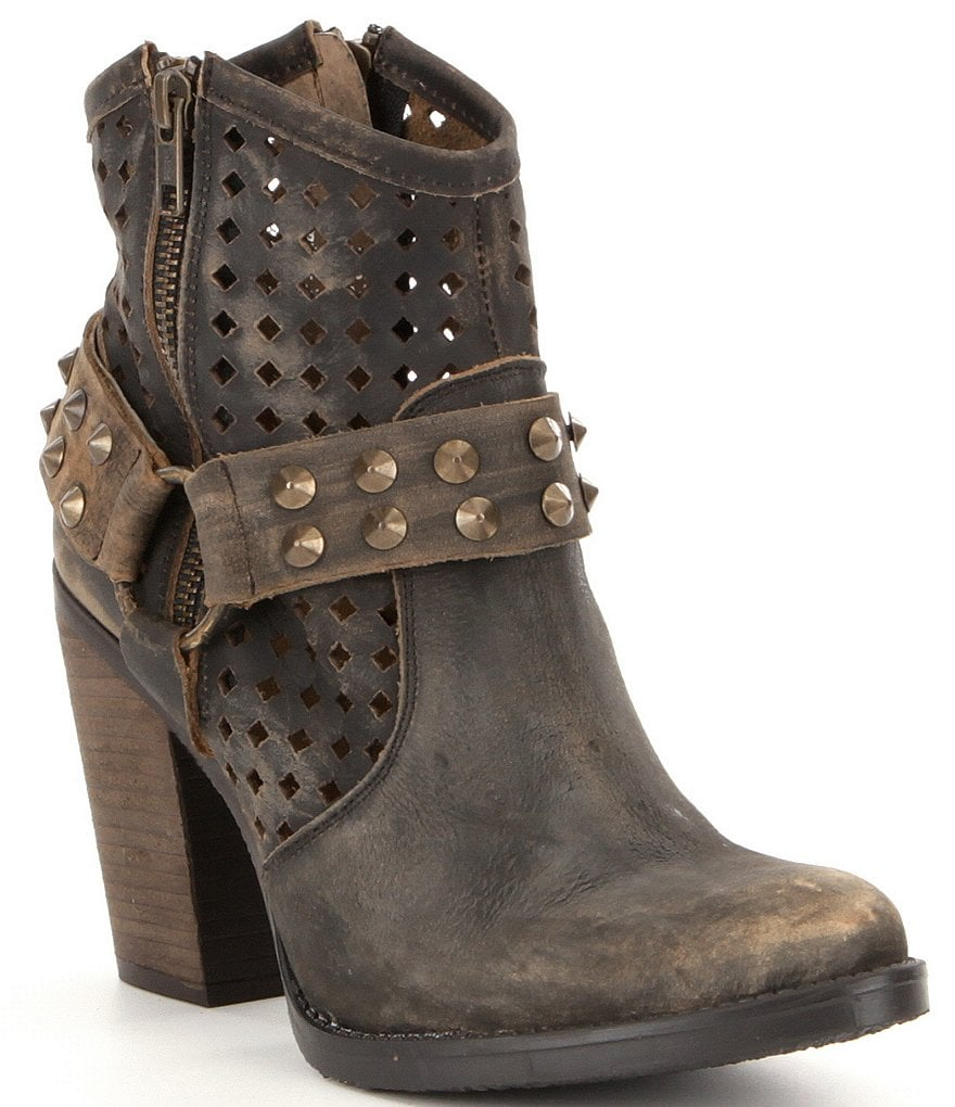 Coolway Aviva Studded Harness Block Heel Booties