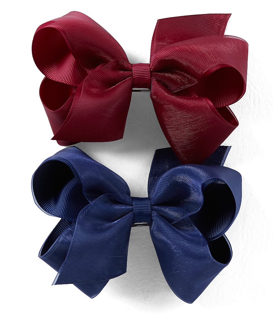 Copper Key Girls 2-Pack Grosgrain Bow Set