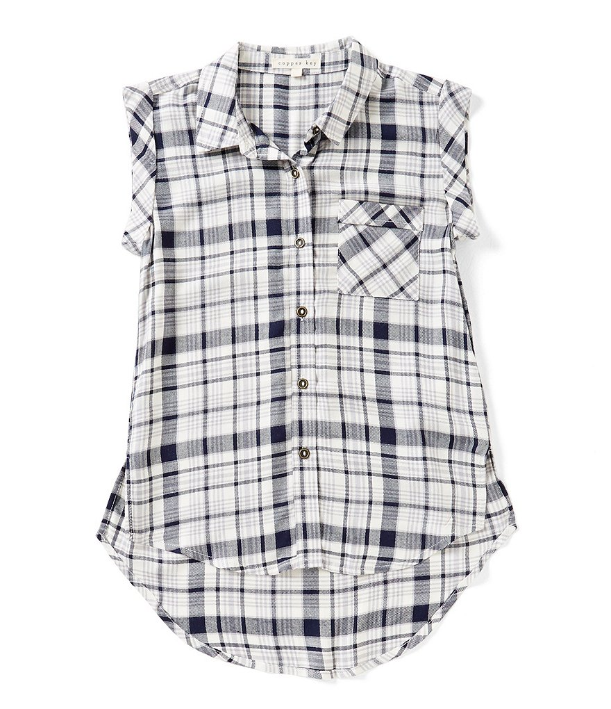 Copper Key Big Girls 7-16 Button-Front Plaid Top