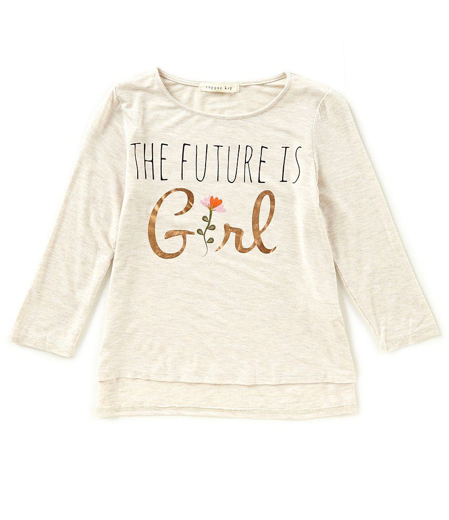 Copper Key Big Girls 7-16 Floral Hi-Low Tee