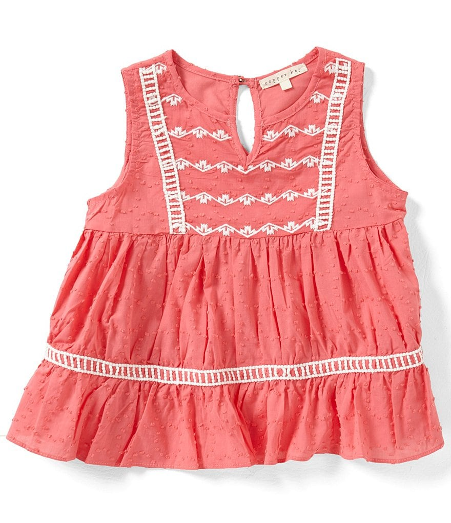 Copper Key Big Girls 7-16 Swiss-Dot Embroidered Tank