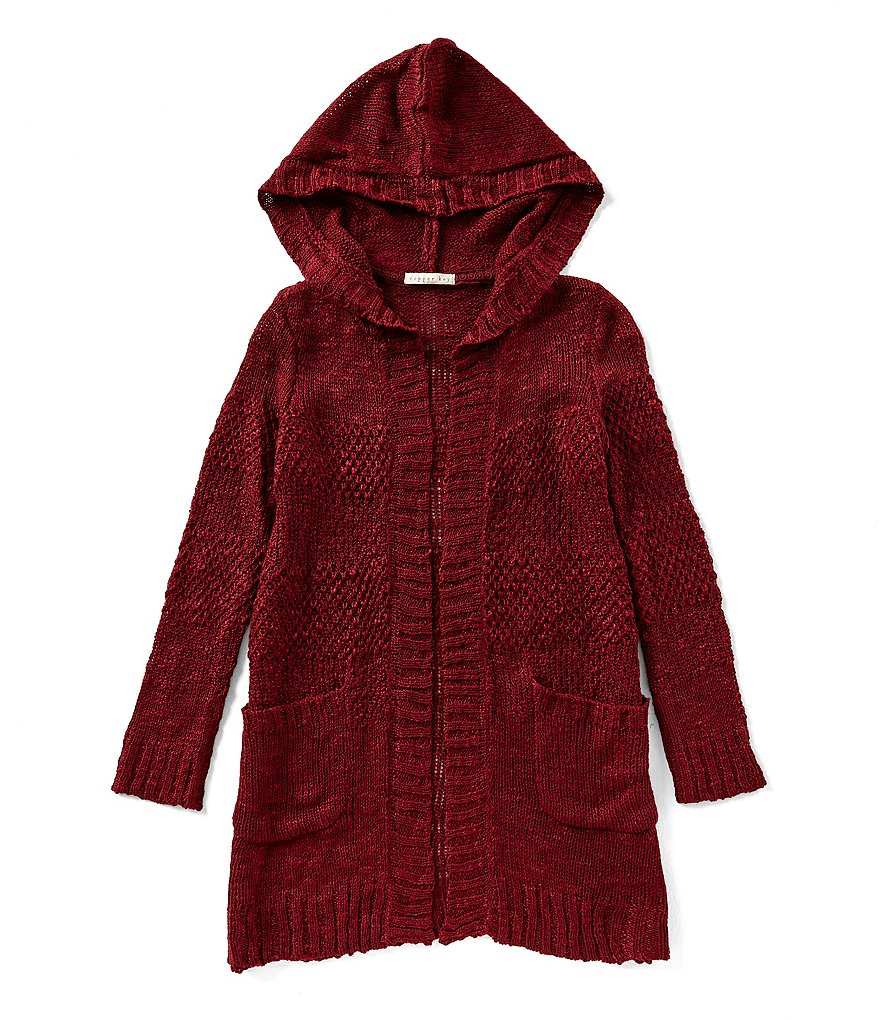 Copper Key Big Girls 7-16 Textured Hoodie Cardigan Sweater