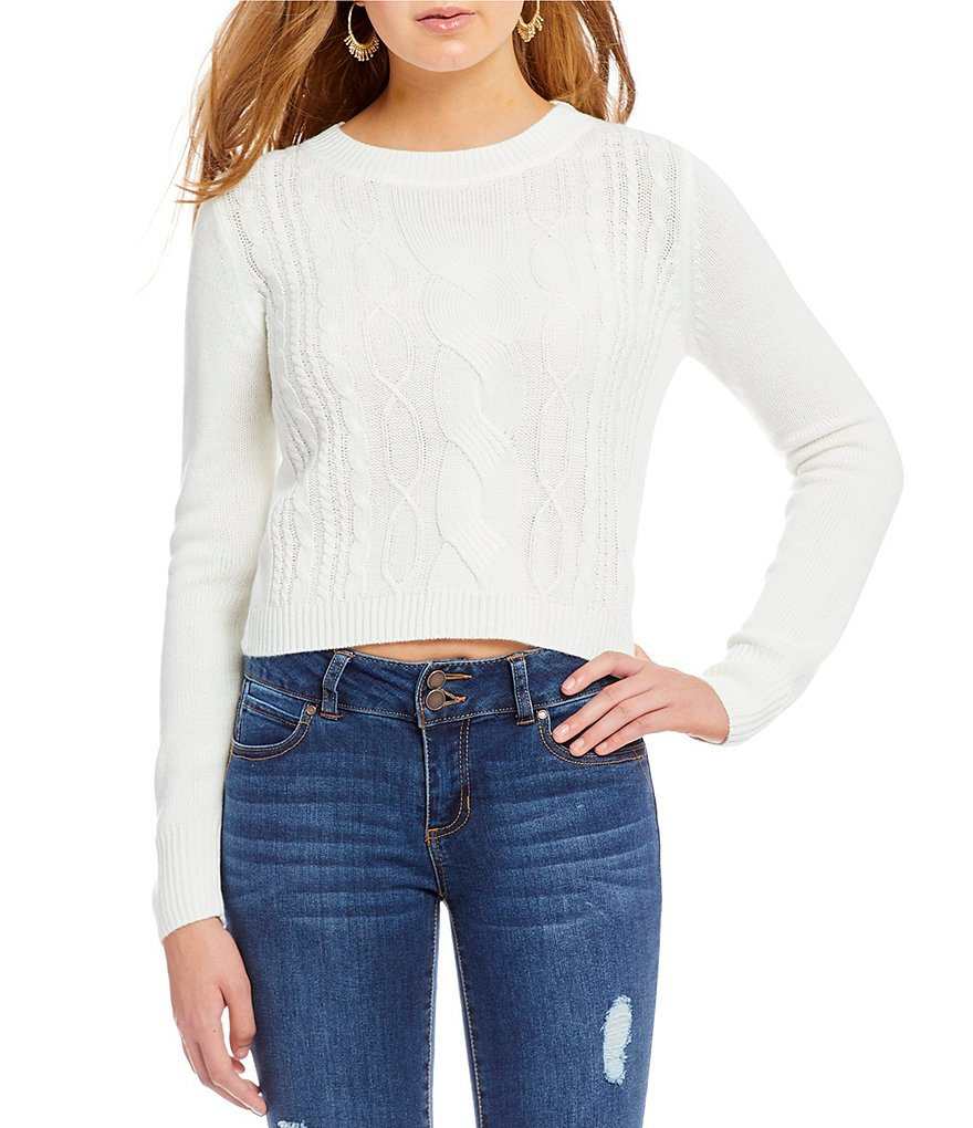 Copper Key Cable Knit Crew Neck Long Sleeve Sweater