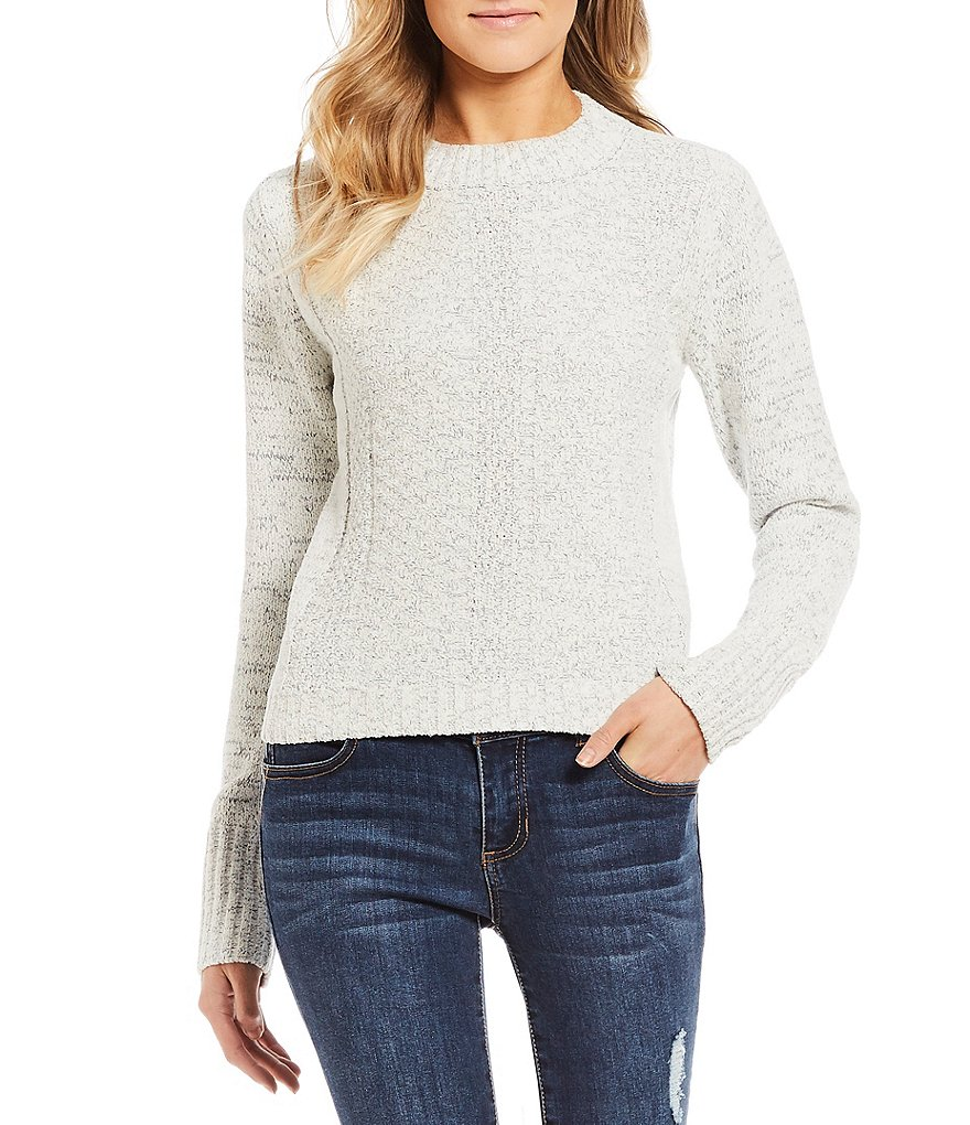 Copper Key Chenille Mock Neck Cropped Sweater