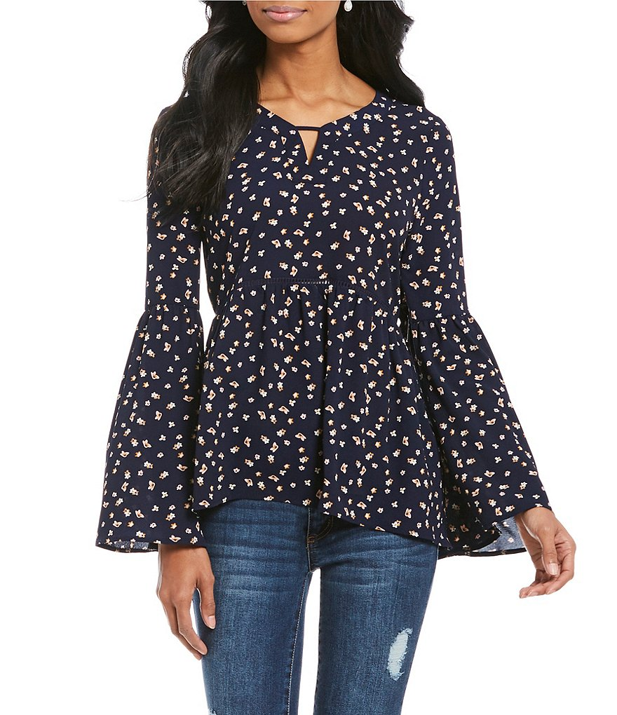 Copper Key Floral Printed Peasant Top