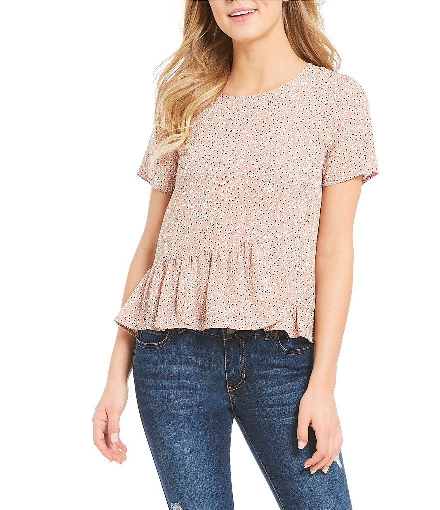 Copper Key Floral Printed Ruffle Hem Short Sleeve Top