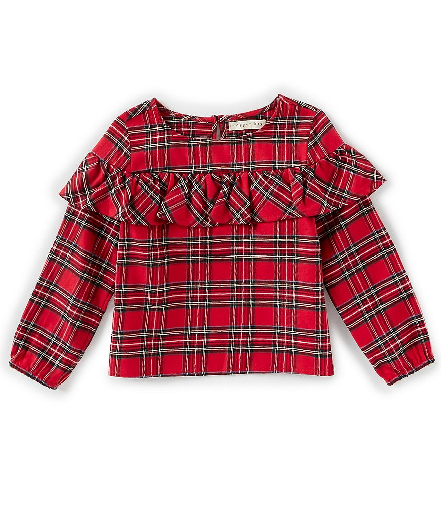 Copper Key Little Girl 2T-6X Plaid Ruffle-Front Top