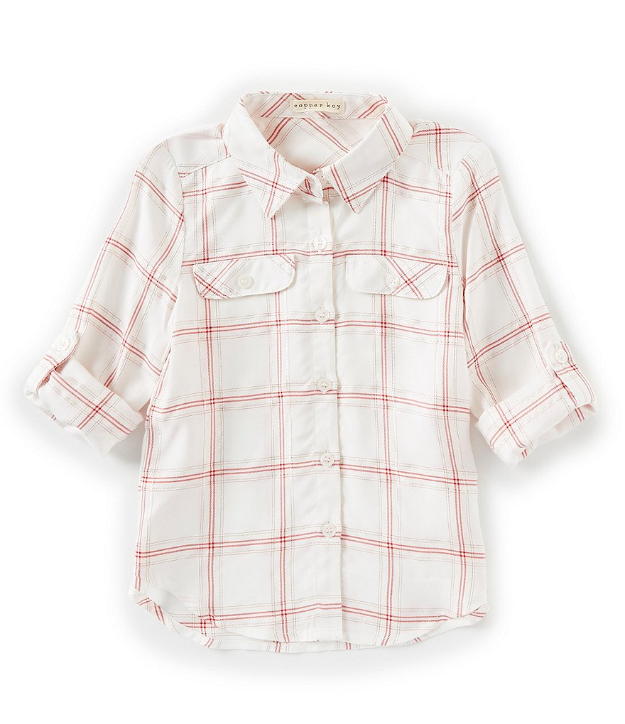 Copper Key Little Girls 2T-6X Long Sleeve Button Down Top