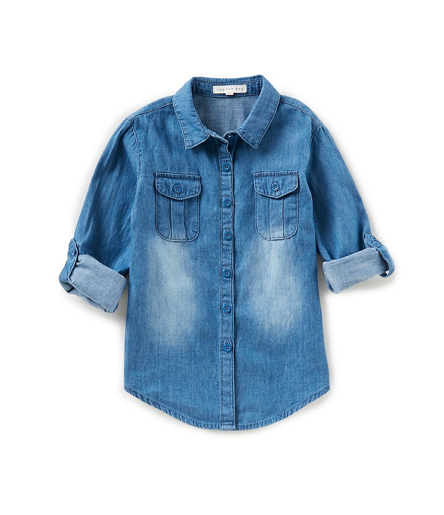 Copper Key Little Girls 4-6X Button-Down Chambray Top