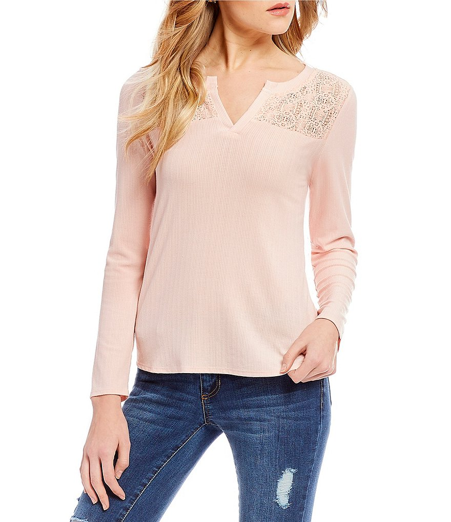 Copper Key Long Sleeve Lace Yolk Knit Top