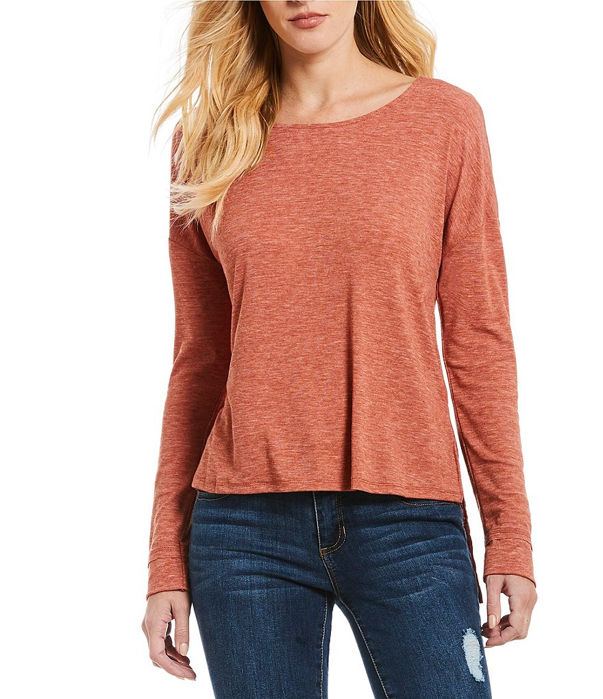 Copper Key Long Sleeve Step Hem Tee