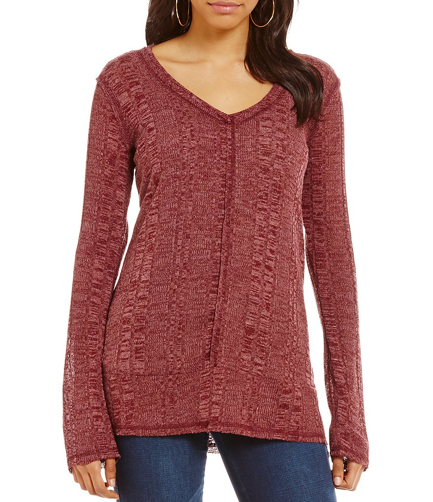 Copper Key Long-Sleeve V-Neck Marled Knit Pullover