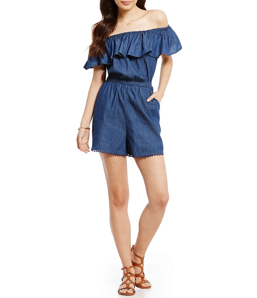Copper Key Off-The-Shoulder Ruffle Chambray Romper