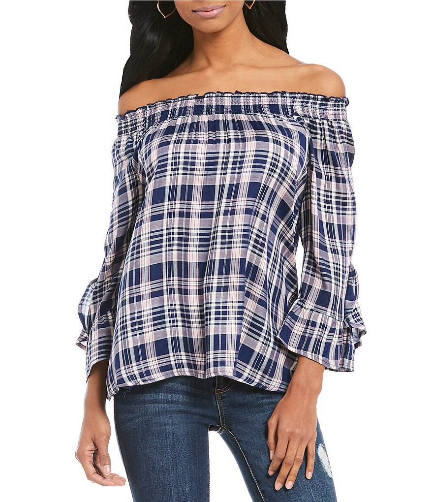 Copper Key Off-The-Shoulder Ruffle Long Sleeve Plaid Top