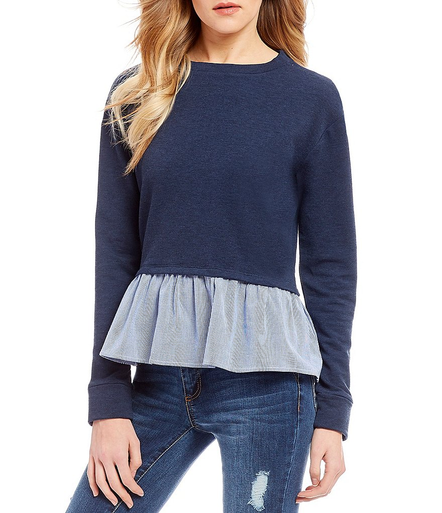 Copper Key Ruffle Hem Sweatshirt