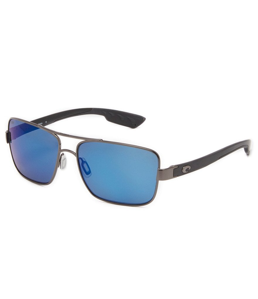 Costa North Turn Double-Bridge Polarized Mirrored Square Sunglasses