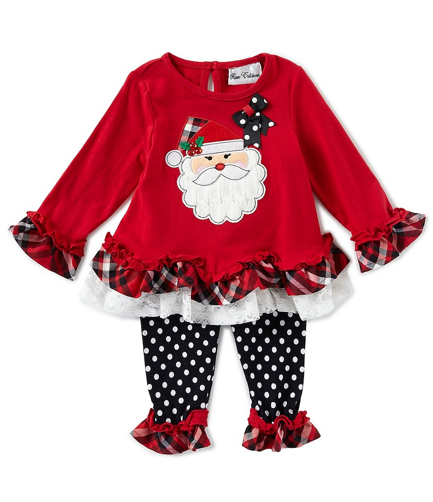 Counting Daisies Baby Girls 12-24 Months Christmas Santa Tunic & Dotted Leggings Set