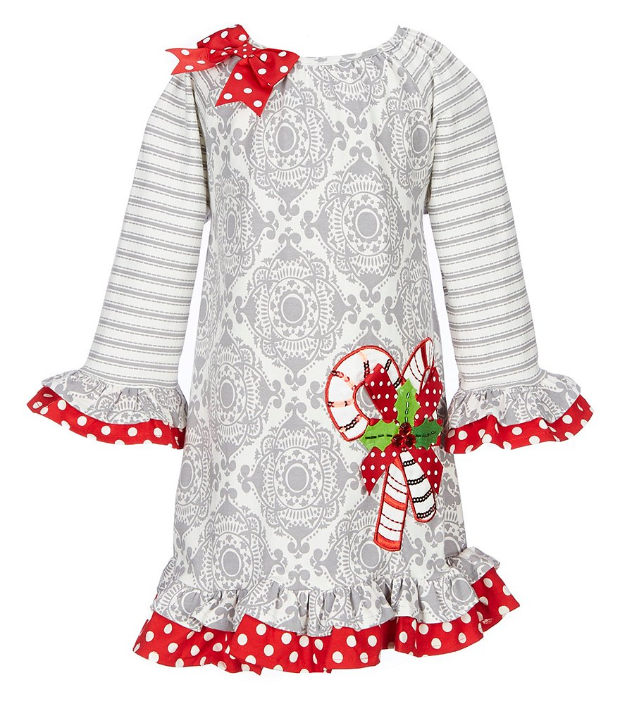 Counting Daisies Little Girls 2T-6X Holiday Candy Cane Printed Shift Dress