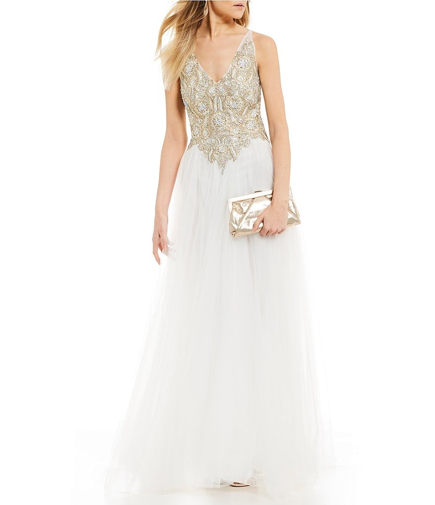 Coya Collection Beaded Applique Bodice Long Ball Gown