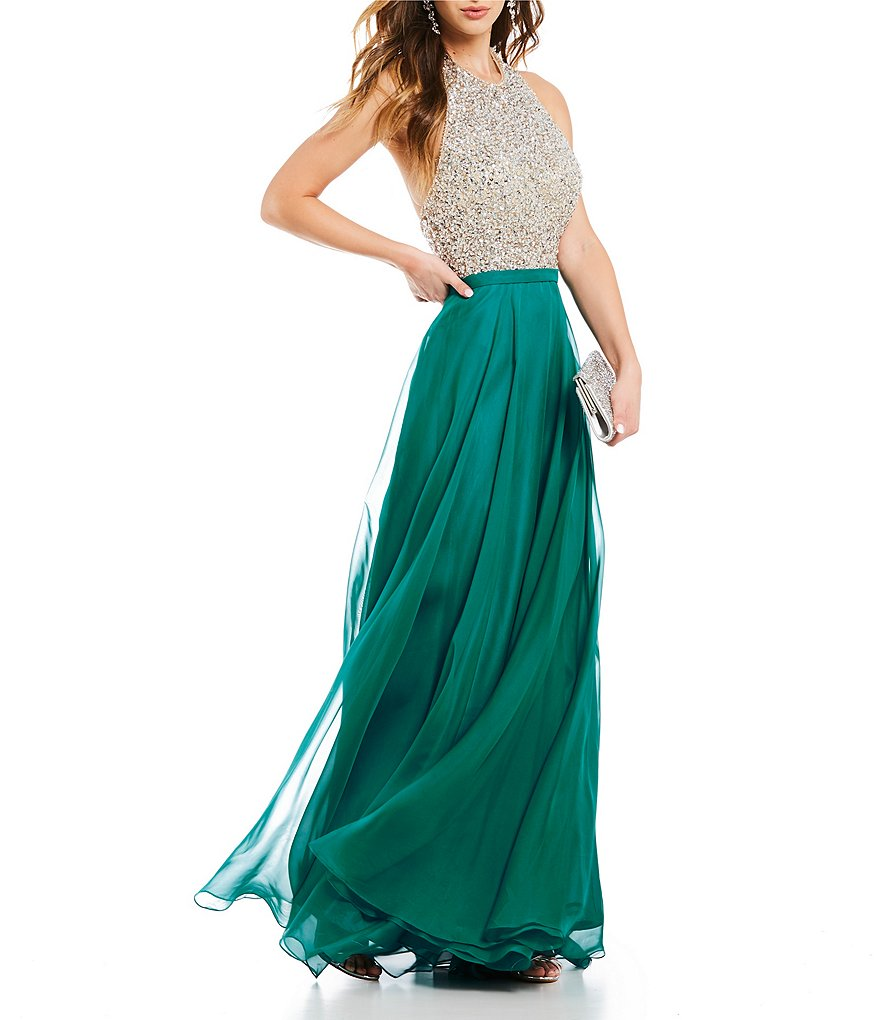 Coya Collection Halter Neckline Beaded Bodice Long Dress