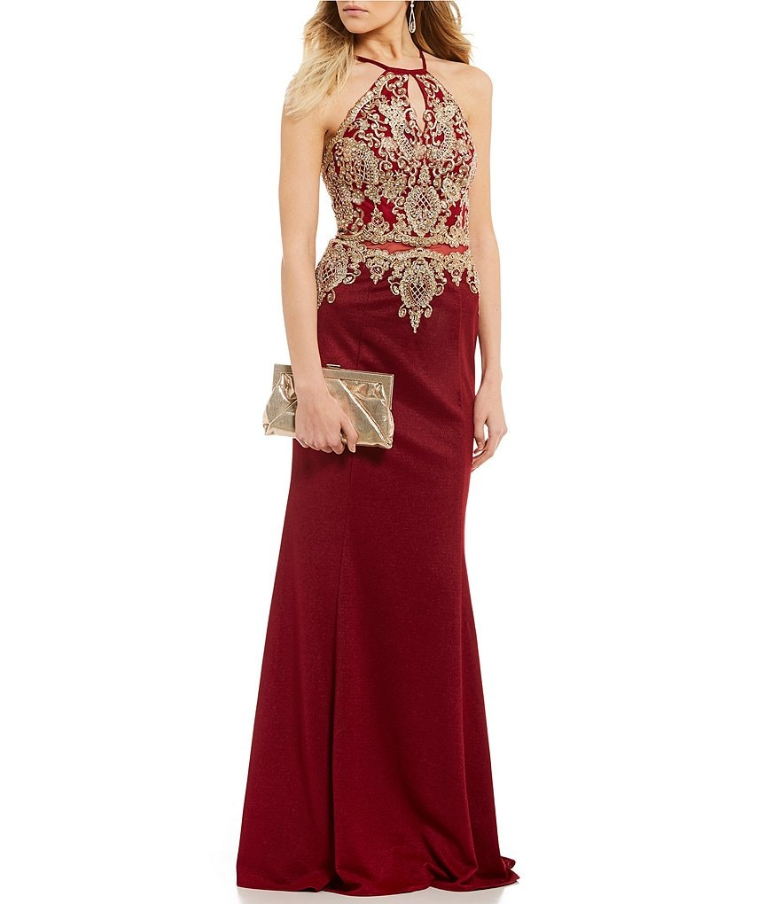 Coya Collection Heat-Stone Embroidered Bodice Long Dress