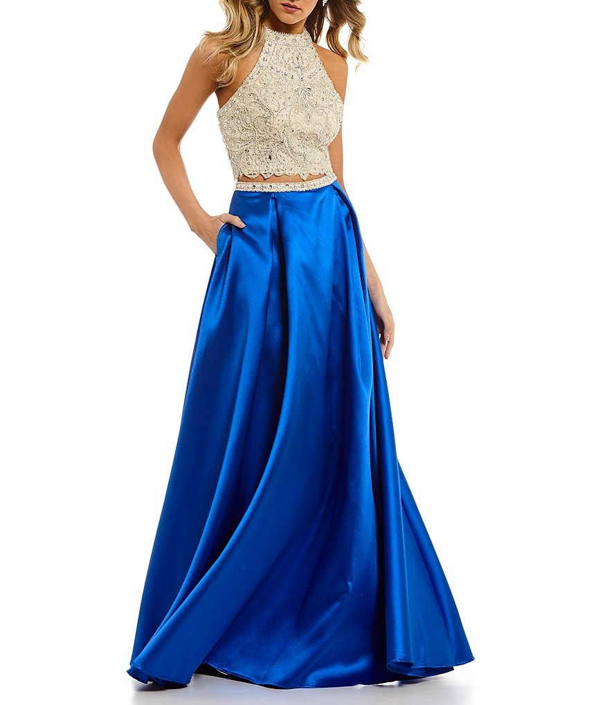 Coya Collection Intricate Beaded Bodice Two-Piece Long Dress