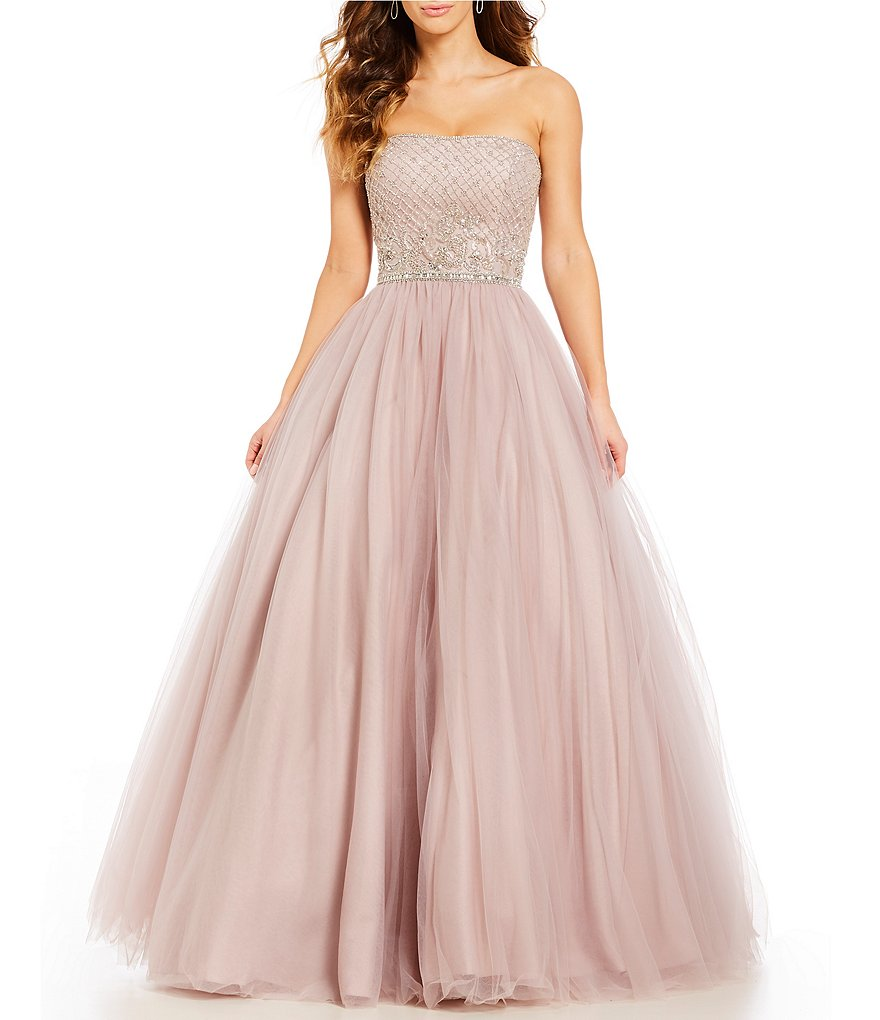 Coya Collection Strapless Beaded-Bodice Ball Gown
