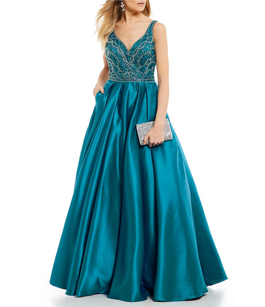 Coya Collection V-Neck Beaded Bodice Ball Gown