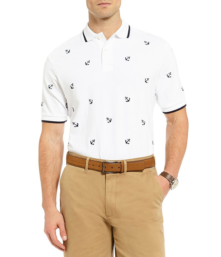 Cremieux Anchor Embroidery Short-Sleeve Polo Shirt