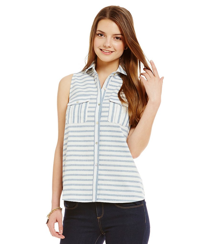 Cremieux Bee Sleeveless Striped Blouse