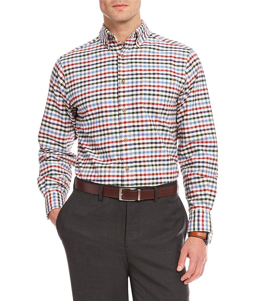 Cremieux Big & Tall Check Oxford Long-Sleeve Woven Shirt