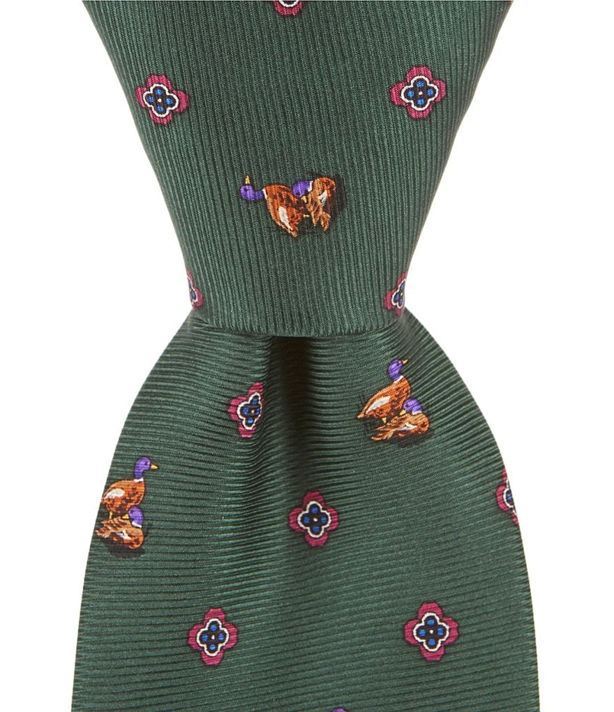 Cremieux Big & Tall Duck Print Traditional Silk Tie