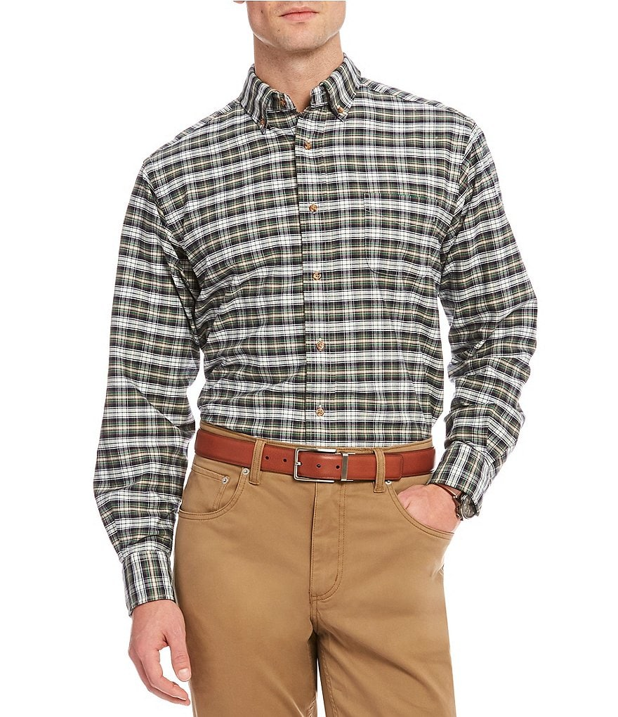 Cremieux Big & Tall Plaid Oxford Long-Sleeve Woven Shirt