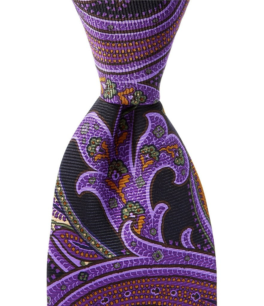 Cremieux Big & Tall Printed Paisley Traditional Silk Tie