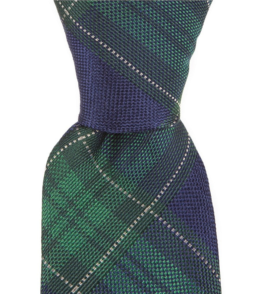 Cremieux Block Plaid Narrow Silk Tie