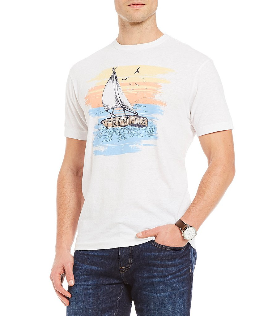 Cremieux Boat Print Short-Sleeve Tee