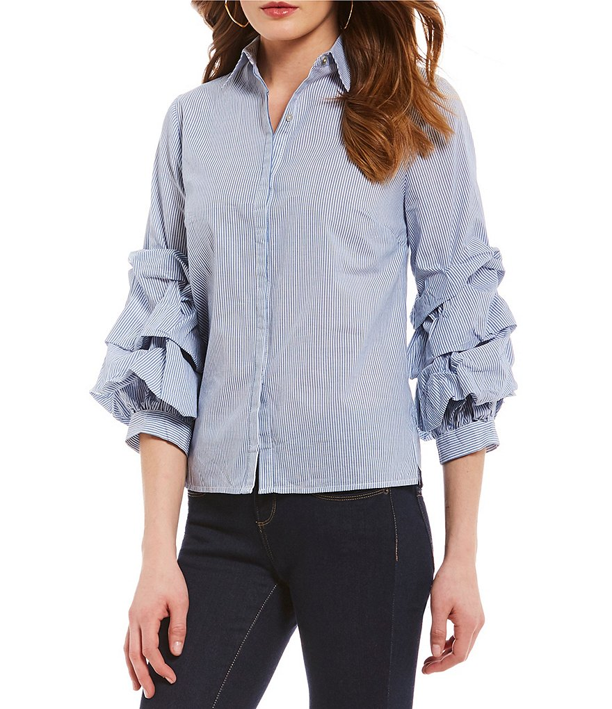 Cremieux Bobby Ruffle Sleeve Novelty Shirting Button Front Blouse