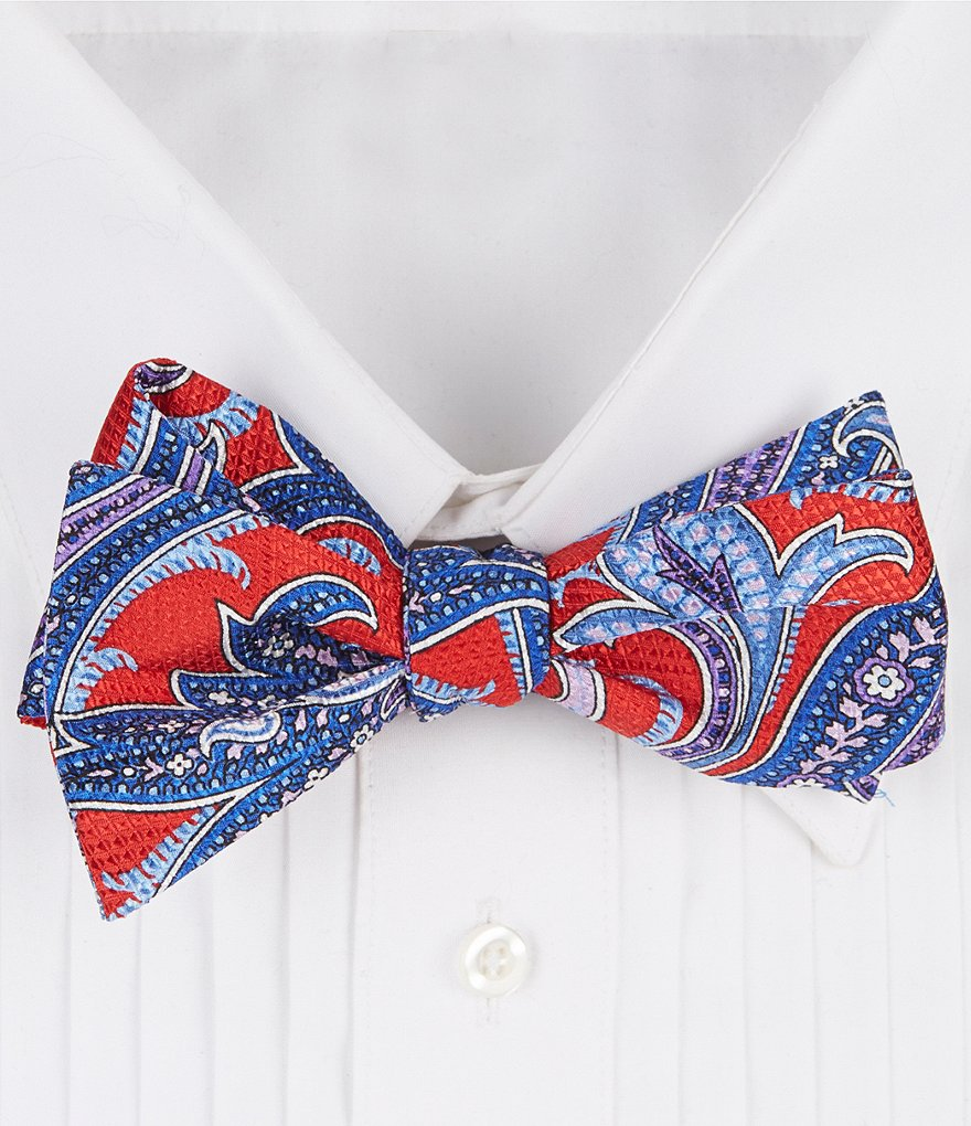 Cremieux Bold Paisley Print Silk Bow Tie