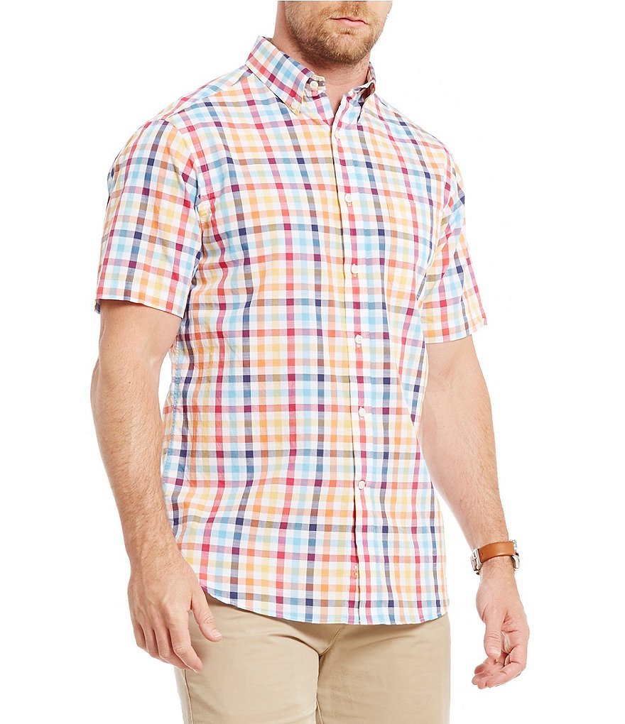 Cremieux Check Slub Short-Sleeve Woven Shirt