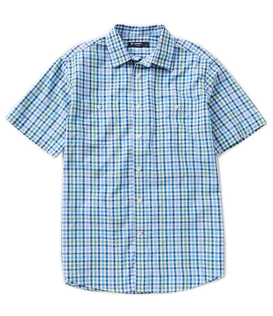 Cremieux Short-Sleeve Checked Poplin Shirt